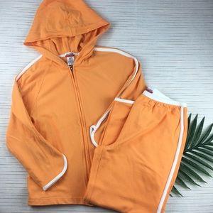 Danskin Now Orange Track Suit Crop Pant Jacket